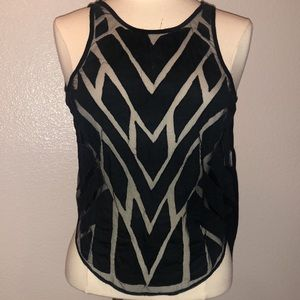 Boho Free People Top- sheer front, open back